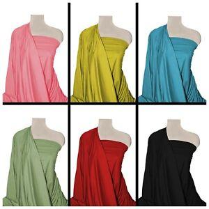 """ITY Jersey Fabric Plain 60"""" Wide Knit Spandex 2-Way Stretch Elastane Dressmaking"""