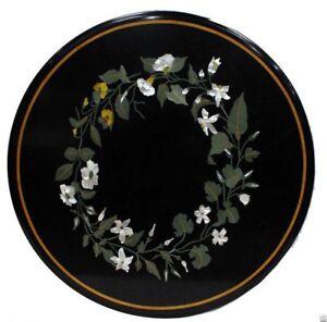 "24"" x 24"" Round Marble Inlay Table Top Semi Precious Stones Work Home & Garden"