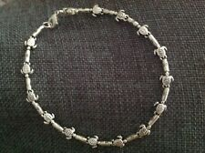 CUTE BEACH SILVER TURTLE ANKLET
