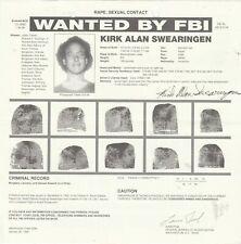 FBI WANTED POSTER KIRK ALAN SWEARINGEN RAPE-SEXUAL CONTACT 11-2-95