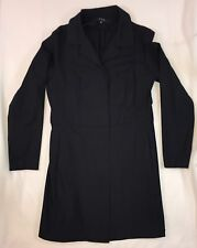 #531 S&D Women's Beautiful Black Casual Long Button Down Trench Coat Sz XS