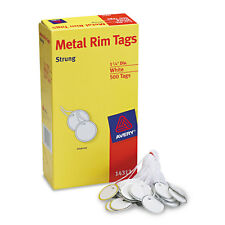 Avery Heavyweight Stock Metal Rim Tags 1 1/4 dia White 500/Box 14313