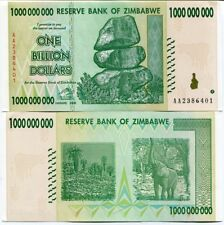 Zimbabwe 1 Billion Dollars AA 2008 Money Banknote A/UNC P83 Inflation Currency