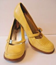 Tommy Hilfiger Vintage Womens 6.5M Mary Jane Yellow Leather Pumps Shoes Heels