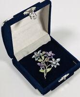 Vintage Brooch Silver Tone Diamante & Enamel Flowers Cute Pretty Kitsch Costume