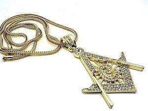 Mens 14k Gold Finish Mason Charm Simulate Diamond Crystal 30 Inch Chain Necklace