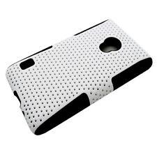 LG Lucid 2 MESH Hybrid Hard Silicone Rubber Skin Case Phone Cover White Black