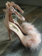 Primark Atmosphere High Heel Nude/Pink Feather Ankle Strap Sandals Size Uk 4 New