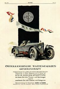 Steyr arms and automobile Austria XL 1925 ad sportstype advertising Ettal race