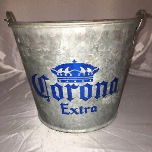 Vintage CORONA Extra Galvanized Metal Beer Bottle Ice Pail Bucket Heavy Steel