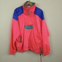 Vintage 80s 90s Neon Pink Vaporwave Columbia Windbreaker Pullover L Colorblock 1