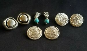 Lot Carolyn Pollack Sterling Silver SW Clip Earrings~Turquoise~Native Am Symbols