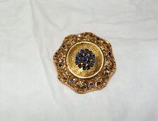 Brooch Gold 18Kt Age 1950 Sapphires Gold Sapphire Vintage Brooch 金蓝宝石复古胸针