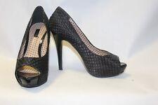 Ladies Black Next Unusual Satin Check Shoes size 5 Peep Toe Killer Heels