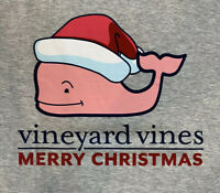 Vineyard Vines Women's Holiday Santa Whale L/S Gray Pocket T-shirt Sz Lg~NEW