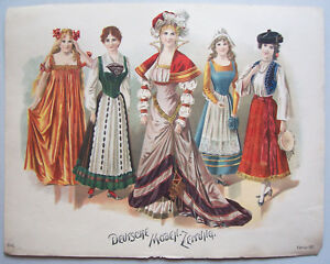 Farblithografie Deutsche Moden Zeitung 1901 Mode Fashion Print Deko Vintage !(13