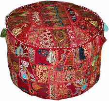 Eclectic Bohemian Style Maroon/Red Ottoman Pouf Chic Interior Decor Floor Pouffe