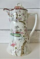 Cherry Blossom Vintage Teapot Made in Japan Hand Painted White Raised Gold Edges