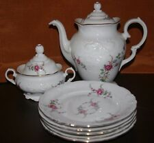 LOT OF 11 W WAWEL FINE CHINA POLAND ROSE GARDEN TEA POT LID SUGAR CREAMER EX