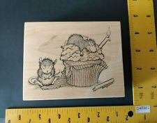 House Mouse Stampa Rosa Rubber Stamp Birthday Cupcake Treat Cake Mice Candle