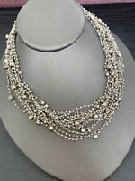 Women's Ladies Necklace Seed bead Bohemian multi strand Multi Color Silver 16""