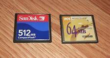Genuine SanDisk 512 MB CompactFlash & PQI 64 MB CompactFlash Memory Cards *ONLY*