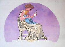 Grande Aquarelle Originale - Circa 1900 - Projet Publicitaire - Mère et son bébé