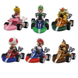 Lot 6 pcs Super Mario Bros Mini Kart Pullback Figure Collectable Doll Toy Gift