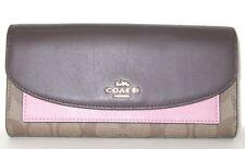 Coach Logo Slim Envelope Colorblock Wallet Blush Pink Oxblood Khaki Logo NWT$265