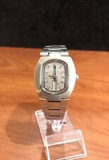 Vintage Lucien Piccard Luccard DayDate Automatic 17 Jewels Stainless Steel RUNS