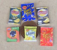 1:12 Scale 6 Packets of Mixed Crisps Snacks Dolls House Miniature Pub Food Adn