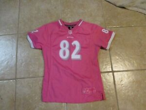 BALTIMORE RAVENS (SMITH #82) GIRLS FOOTBALL JERSEY (M-12) PINK BREAST-CANCER NWT