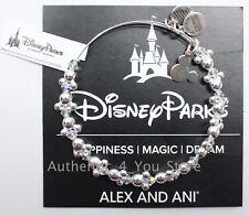NEW Disney Parks ALEX AND ANI Mickey & Minnie Ear Hat Icons Silver Wrap Bracelet