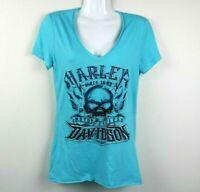 Harley Davidson Size XS Womens Blouse Short Sleeve Rhinestones V Neck Blue EUC