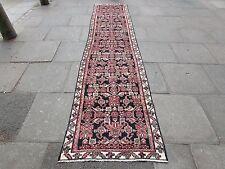 Old Traditional Hand Made Persian Runner Oriental Blue Wool Long Runner 385x85cm
