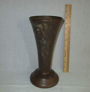 Antique Heintz Art Metal Sterling Silver on Bronze Arts & Crafts Vase Pine Cone