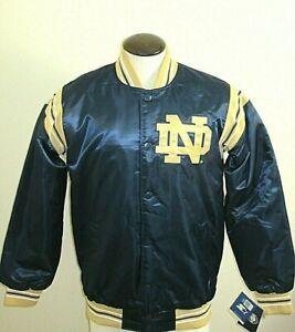 Mens Notre Dame Fighting Irish Starter Classic Satin Snap Front Jacket Blue Gold