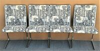 Set of 4 Vintage MCM Chrome Cantilever Upholstered Dining Chairs