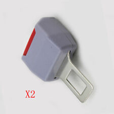 2x Plastic & Metal Safety Seat Belt Buckle Clip Extender Car Gray Alarm Stopper