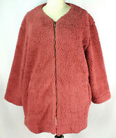 NWT Woman Within Rose Pink Plus Size 4X Coat Jacket Lined Sherpa Fleece