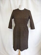 "Ladies Dress Vintage 1960s stretch brown/black bust 38"" waist 32"" hips 39"" 7139"
