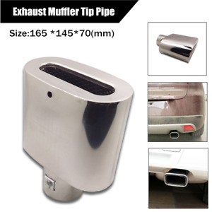 Stainless Steel Car Outlet Rolled Muffler End Exhaust Trims Tail Pipe Tip Silver