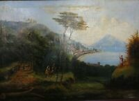 Antique Oil painting on canvas of Italy Vesuvius Campania Landscape Restoration.