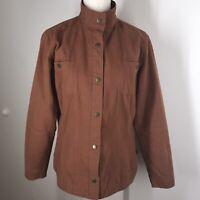 Woolrich Woman's Cinnamon Red Canvas Barn Coat Field Jacket Cotton lined XS