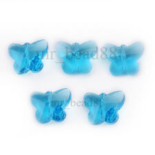 Clear Faceted Glass Crystal Butterfly Design Beads Spacer Findings Charms 14mm