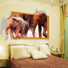 3D Optik Wandaufkleber Elefant Wandtattoos Wandbilder Schrank Bad Sticker deko