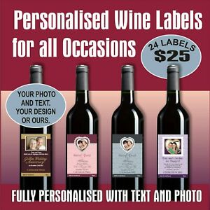 24 PERSONALISED WINE LABELS - FOR ANY OCCASION, YOUR DESIGN OR OURS, FREE POST
