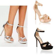 Zapatos de fiesta Mujer señoras de la Alta Tacón Stiletto Plataforma noche sandalias de tiras