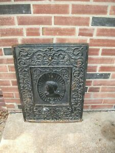 """Antique Cast Iron 1800's Ornate Fireplace Cover Architectural-Full Size 20""""x 28"""""""
