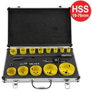 17-tlg 19-76mm Lochsäge Set HSS Bi-Metall Dosenbohrer Bohrkronen Satz